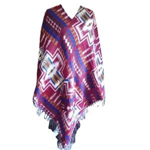 Jessica Taylor Red Fall Tribal Pocketed Poncho